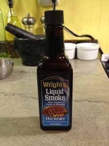 Ingredients: Water, Natural Hickory Smoke Concentrate. Nothing more.